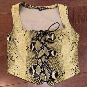 I.AM.GIA yellow/green snakeskin corset crop top